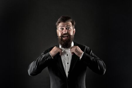 Official event dress code. Classic style. Classic outfit. Perfect groom. Bearded man with bow tie. Well dressed scrupulously neat. Hipster formal suit tuxedo. Difference between vintage and classic