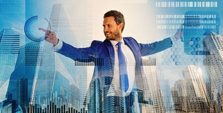 Touch digital surface. Businessman financial manager interact digital surface. Businessman with briefcase business center background. Financial statistics digital technology. Digital business concept
