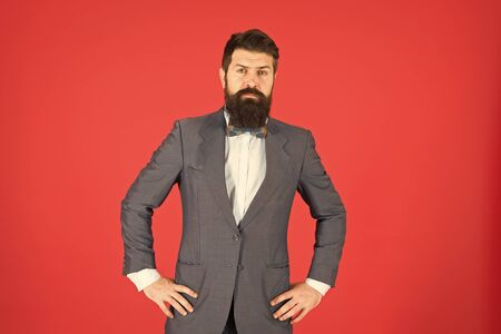 Dress like a Boss. Business success. Mature businessman. Bearded man hipster in jacket. fashion look. Stylish businessman. Bearded man in formal suit. Successful businessman. Confident businessman Banque d'images - 129239457