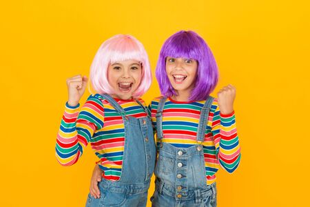 Anime fan. Animation style characterized colorful graphics vibrant characters fantastical themes. Anime convention. Happy little girls. Cheerful friends in colorful wigs. Anime cosplay party concept