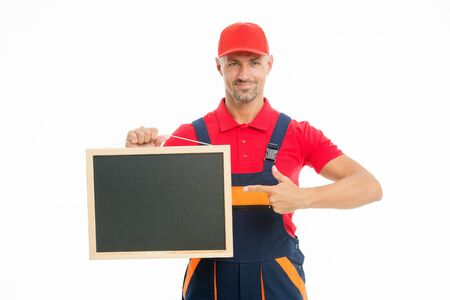 Repair advertisement concept. Courier service delivery. Salesman and courier career. Courier and delivery service. Postman delivery worker. Happy man show blank blackboard on white background Фото со стока