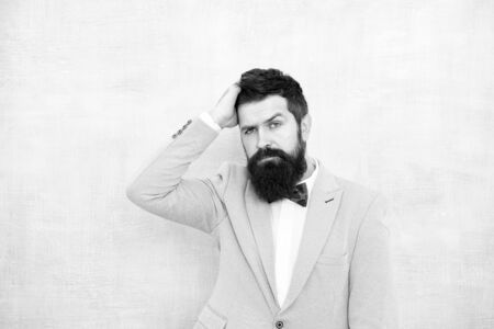 gentleman go on love date. glamour hipster male with beard. mature businessman in blue jacket. tuxedo fashion look. bearded man in bow tie. bride groom at wedding party. Man of style and status