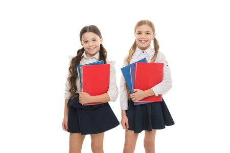 Language courses for youth. Girls with school textbooks white background. We love study. Studying is fun. Buy book for extra school course. School concept. Pupils carrying textbooks to school classes 스톡 콘텐츠