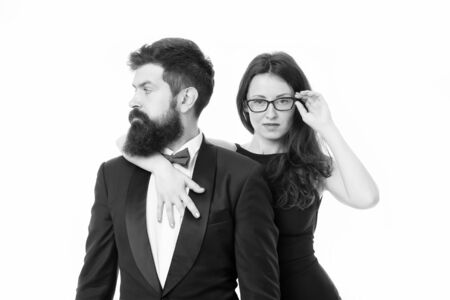love date and romance. valentines day. bearded businessman with lady. tuxedo man and elegant woman at formal party. couple in love. formal couple isolated on white. business meeting. fashion