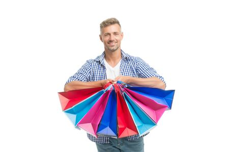 Did not resist temptation. Total sale. Positive man enjoying shopping. Happy man with shopping bags isolated white. Excited guy doing shopping. Shopping happiness. Nice purchase. Gifts for holidays