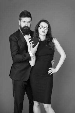 love date and romance. tuxedo man and elegant woman at formal party. couple in love. valentines day heart. bearded businessman with lady. formal couple. business meeting. Real love. i love you Imagens