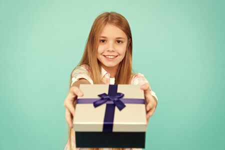 Pleasant surprise. Girl kid hold birthday gift box. Every kid dream about such surprise. Birthday girl carry present. Making gifts. Birthday wish list. Happiness and joy. Happy birthday concept Stockfoto