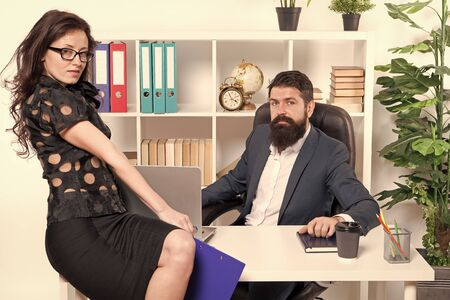 Modern business couple working in modern office. Businesspeople. Formal fashion dress code. Business couple in modern office. collaboration. Man with beard and woman. Modern life