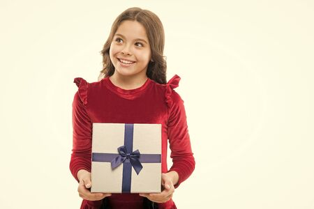 Little girl with present box. big sale in shopping mall. Boxing day. small girl after shopping. Happy birthday gift. copy space. Nice purchase. Easy and fast. Shopping happiness