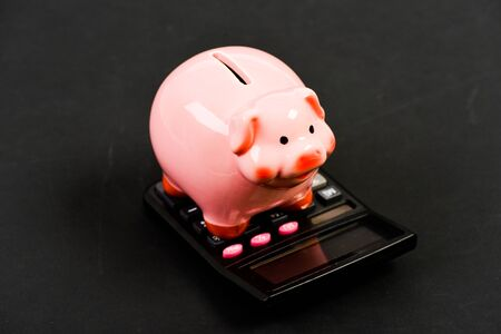 property insurance. bookkeeping. financial problem. income capital management. money saving. Accounting and payroll. moneybox with calculator. Piggy bank. planning and counting budget
