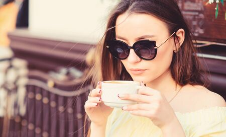 good morning. Breakfast time. stylish woman in glasses drink coffee. girl relax in cafe. Business lunch. morning coffee. Waiting for date. summer fashion. Meeting in cafe. Her perfect breakfast 写真素材