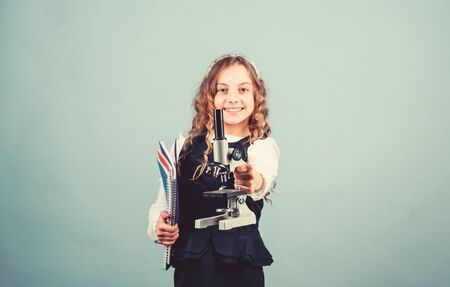 education and knowledge. child study bilogy lesson. Discover future. back to school. science research in lab. Small girl with microscope. small girl scientist testing. Breathing life into chemistry