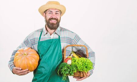 Joyful mood. bearded mature farmer. seasonal vitamin food. Useful fruit and vegetable. organic and natural food. happy halloween. man chef with rich autumn crop. harvest festival