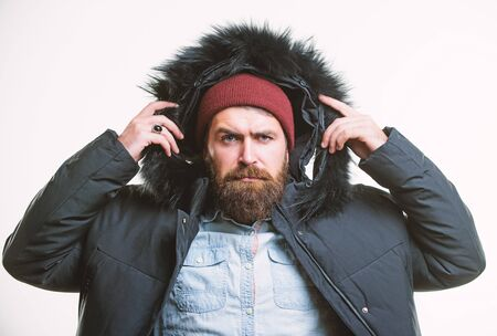 Winter stylish menswear. Man bearded stand warm jacket parka isolated on white background. Winter outfit. Hipster winter fashion. Guy wear black winter jacket with hood. Prepared for weather changes 版權商用圖片