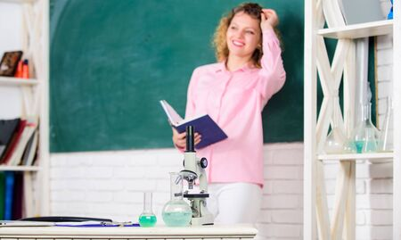 Educational program for primary school. Educational process concept. Educational methods include storytelling discussion teaching training and directed research. Girl adorable teacher in classroom