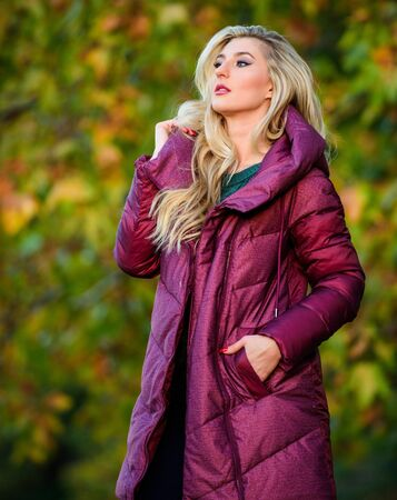 Woman wear extra volume jacket. Girl fashionable blonde walk autumn park. Jackets everyone should have. Best puffer coat to buy. How pick jacket. Puffer fashion concept. Professional stylist advice
