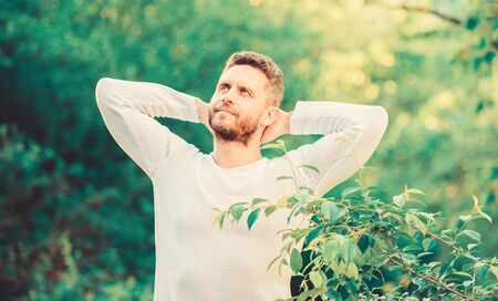 enjoying green life. man in forest. time to think. ecological life for man. man in green forest. morning in nature. healthy lifestyle. nature and health. mature fashion model. macho man. inspiration