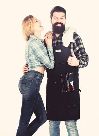 Man bearded hipster and girl. Preparation culinary. Couple in love hold kitchen utensils. Tools for roasting. Picnic barbecue. food cooking recipe. Family weekend. Recipe requires a lot of loving Zdjęcie Seryjne