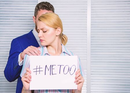 Stop violence against Women. Sexual harassment between colleagues and flirting in office. Office colleagues relations. metoo as a new movement.