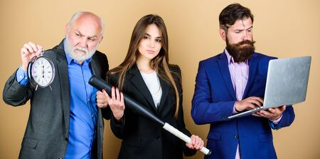 Aggressive business. Business lady and boss. Time demands decisive actions. Expert team. Men bearded manager show financial report laptop. Business strategy. Woman and guy colleague working together Zdjęcie Seryjne