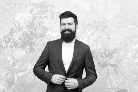 Portrait of masculinity. Modern life. Male fashion. Mature businessman. Brutal bearded hipster in formal suit. Tailor or fashion designer. elegant man with beard. Time for new haircut. be modern