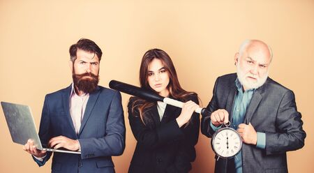 Business strategy. Aggressive business. Expert team. Men bearded manager show financial report laptop. Woman and guy colleague working together. Business lady and boss. Time demands decisive actions
