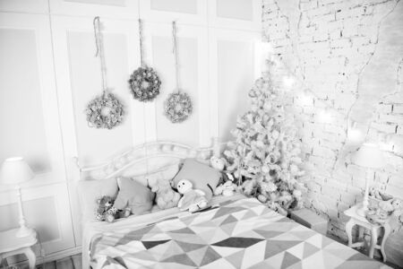 Christmas composition. Christmas. Beautiful decorated room with tree and toys. Happy new year. Merry Christmas and Happy Holidays. The morning before Xmas. New year holiday. All I want for Christmas