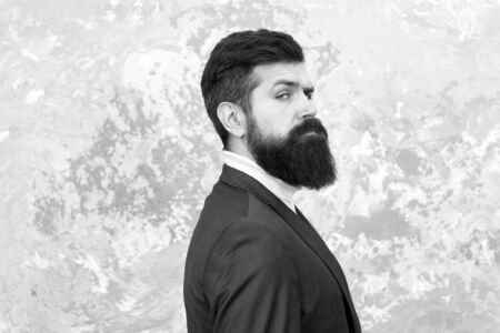 Rugged and manly. Tailor or fashion designer. Modern life. Brutal bearded hipster in formal suit. elegant man with beard. Male fashion model. Mature businessman. Beard grooming. Bearded and stylish