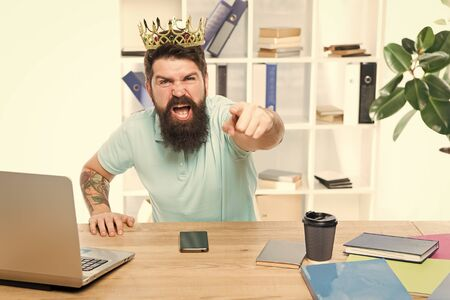 Office is my kingdom. King of office. Man bearded businessman wear golden crown. Top manager head office. Boss enjoying glory. Head office and ceo concept. Chief executive officer. Issuing decree