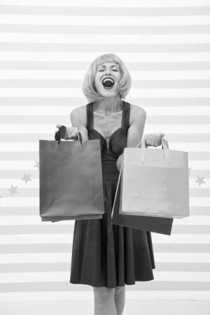 Fashion. Black Friday sales, copy space. Last preparations. big sale in shopping mall. Crazy girl with shopping bags. happy woman go shopping. Happy shopping online. Happy holidays. Heavy bags