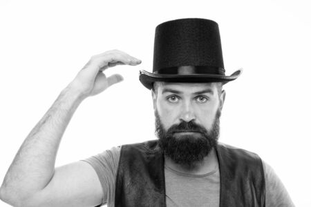Let me show some magic. Man bearded hipster cylinder hat. Illusionist performance concept. Magician sorcerer genie performance. Circus worker. Circus magic trick performance. Let performance begin