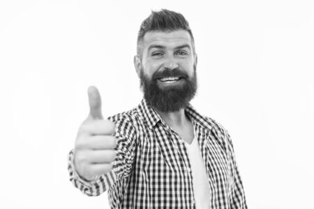 Great choice. Man bearded hipster recommend or approve something isolated white background. Appreciate your choice. Thumb up gesture symbol of approvement. Approve or endorse with hand gesture