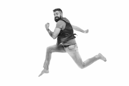 Never stop. Man thief run away. Keep moving concept. Guy bearded hipster captured in running motion isolated on white background. Bearded man running high speed. Escape and runaway. Running motion Stock Photo