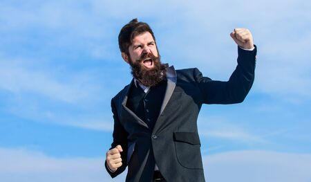 Man bearded optimistic businessman wear formal suit sky Zdjęcie Seryjne - 129262684