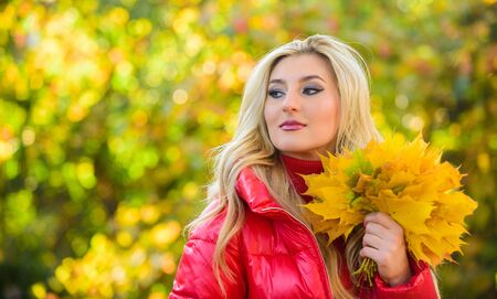 Lady posing with leaves autumnal nature Stock fotó