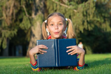 Schoolgirl read stories while relaxing green lawn. Фото со стока - 129261032