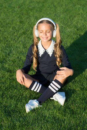 Girl listening music modern gadget.