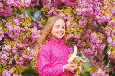 Little girl eat banana. Kid on pink flowers of sakura tree background. Kid enjoying cherry blossom sakura. Happy spring vacation. Spring in botany garden. That is how spring smells. Tender bloom Фото со стока