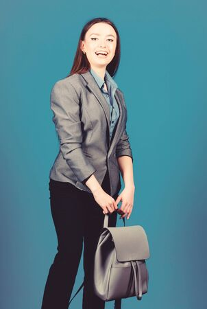 student life. Smart beauty. Nerd. business. Shool girl with knapsack. stylish woman in jacket with leather backpack. female bag fashion. girl student in formal clothes. School education