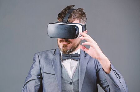Businessman explore virtual reality. Digital technology for business. Business man virtual reality. Modern gadget. Innovation and technological advances. Business implement modern technology