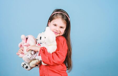 small girl with soft bear toy. child psychology little girl play game in playroom. happy childhood. Birthday. hugging teddy bear. toy shop. childrens day. Best friend. Moments of love and happiness Stockfoto