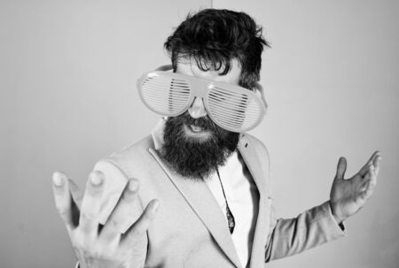 Fun and relax. Businessman fed up being serious. Enjoy being yourself. Sincere and natural. Hipster formal clothes having fun. Just want to have fun. Man with beard and mustache wear funny eyeglasses