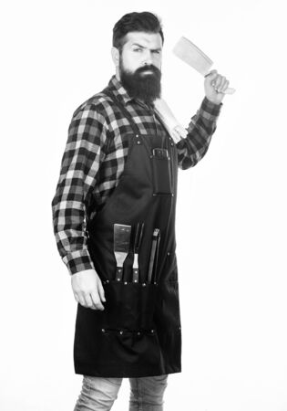 Perfect for precise cutting. Brutal cook holding butcher axe. Butcher with sharp chef knife or cutter in hand. Bearded man with butcher knife. Hipster with meat mincing knife wearing butcher apron