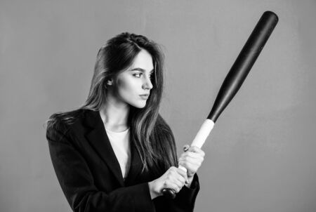 Bandit gang and conflict. successful woman. Street life. sexy woman with baseball bat. criminal dirty business. big game success. confident businesswoman. Sporty girl fighter. Sport equipment Stock Photo