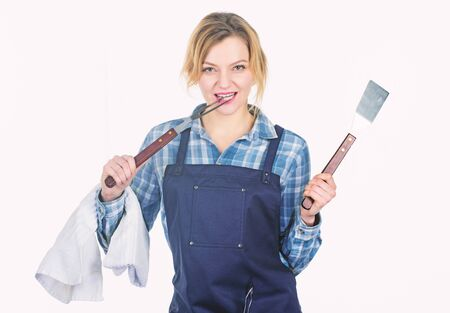 Picnic and barbecue. Cooking meat in park. Barbecue master. Woman checkered shirt and apron for cooking white background. Grilling food. Cooking meat at low temperature for long time outdoors