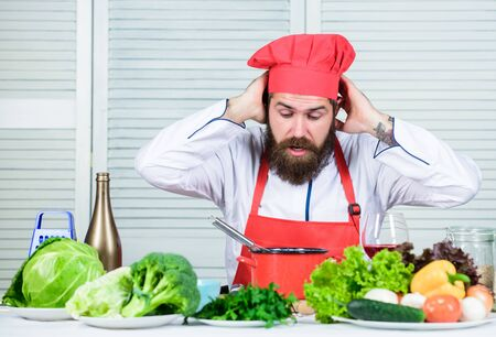 Vegetarian salad with fresh vegetables. Cuisine culinary. Vitamin. Healthy food cooking. Mature hipster with beard. unhappy bearded man. chef recipe. Dieting organic food. Big moment is coming