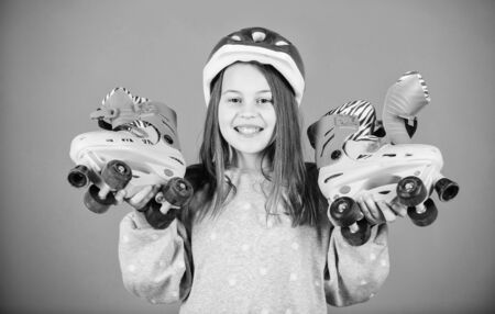 time to rest. race workout of teen girl. Happy child with roller skates. Little girl. Fitness health and energy. Roller skating. Childhood activity. Freestyle. Sport success. Free to go anywhere