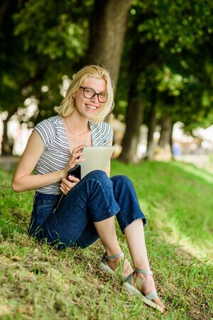summer online. Blogger create content for social network. writer with notebook. woman has business online. Web communication. Blogger becoming inspired by nature. girl with laptop. Towards knowledge