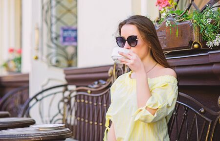 morning coffee. Waiting for date. stylish woman in glasses drink coffee. summer. Lucky to start the day here. Meeting in cafe. good morning. Breakfast time. girl relax in cafe. Business lunch