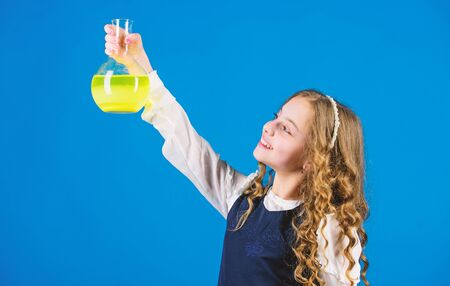 science research in lab. Small school girl. child study bilogy lesson. back to school. education and knowledge. Future. small girl scientist with testing flask. Student preparing to the exams